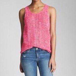 LIKE NEW GAP Crochet Knit Tank Top, Bright Pink M